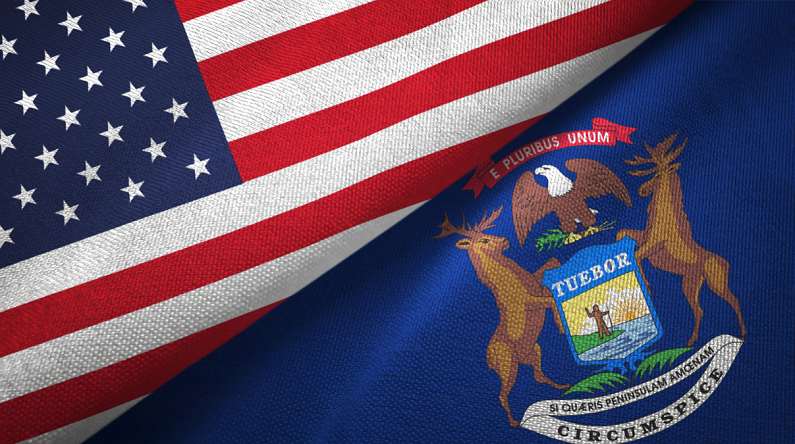 United States and Michigan state two flags textile cloth