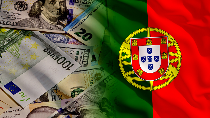 waving Portugal and money flag