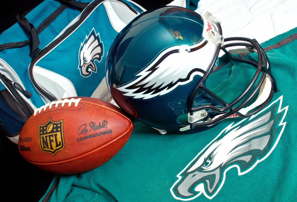NFL Philadelphia Eagles club equipment, ball, helmet, jersey, and bag