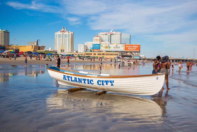 canoe off the beach in Atlantic City