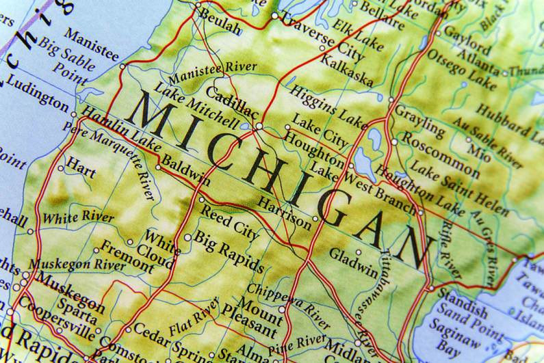close-up of Michigan on a map