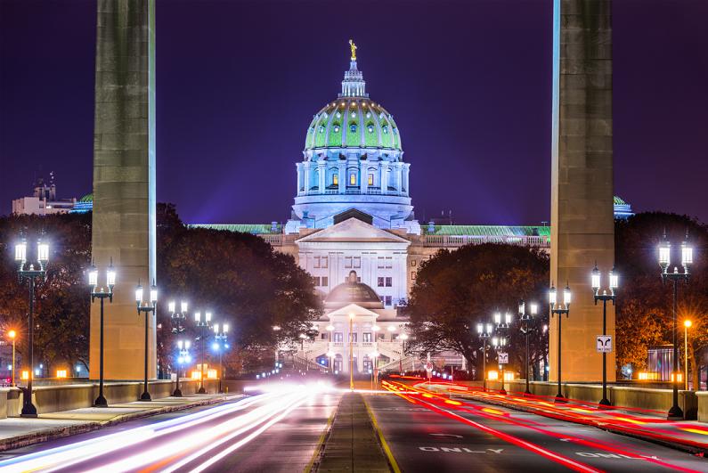 美国宾夕法尼亚州哈里斯堡的宾夕法尼亚州议会大厦