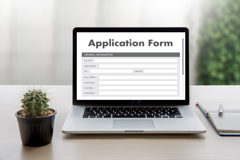 online application form displayed on a laptop