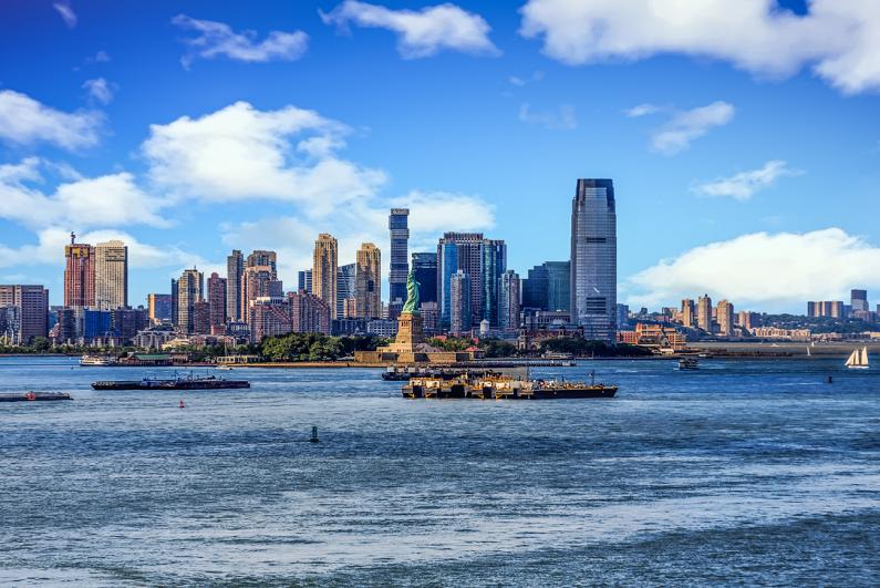 the skyline of Jersey City, New Jersey