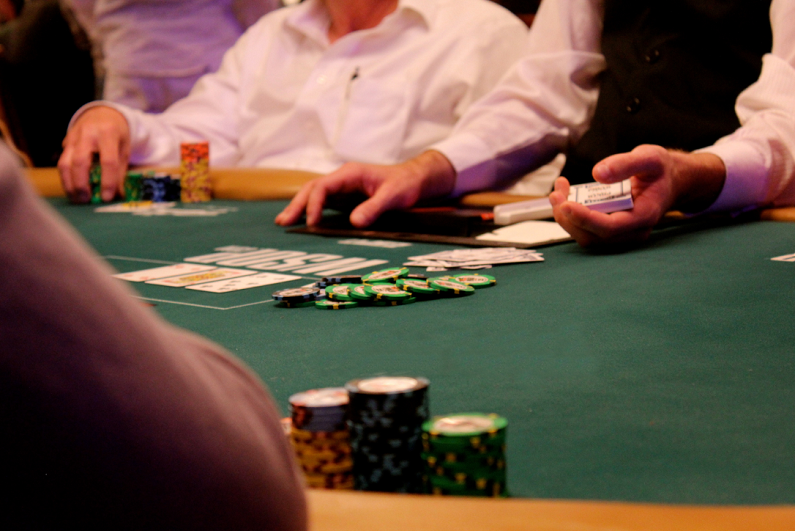 Low-angle view of table at World Series of Poker