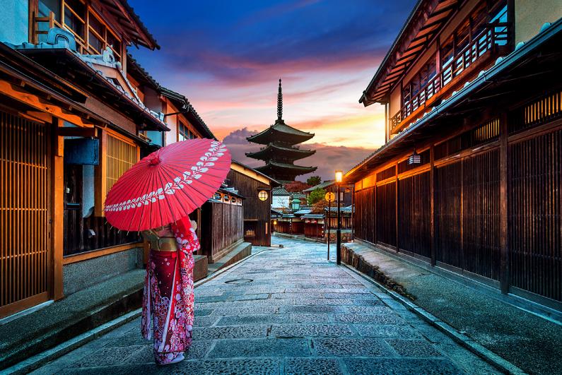 Yasaka Pagoda and Sannen Zaka Street in Kyoto, Japan