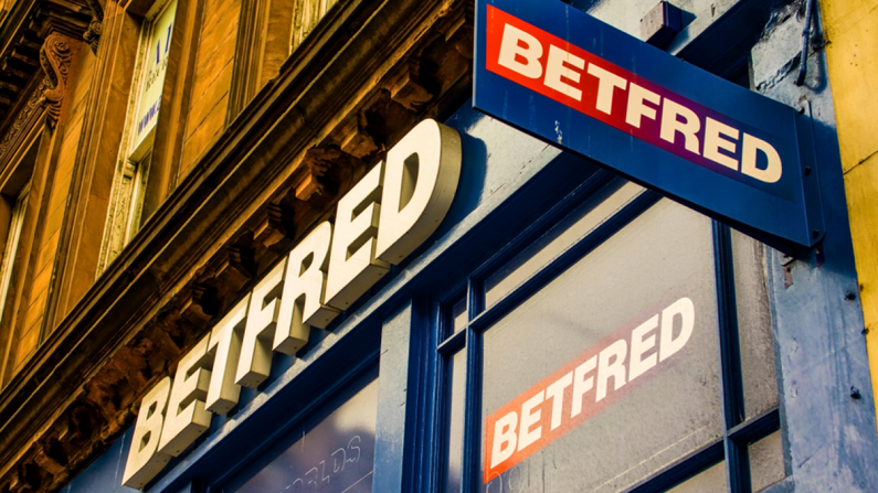 sign above Betfred betting shop
