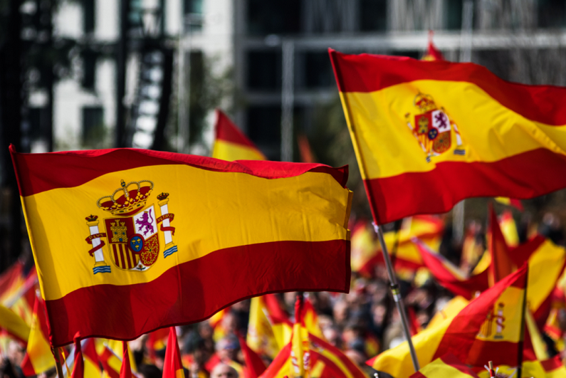 Spain flags being flown during protest
