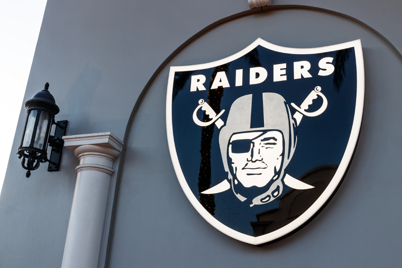 Raiders logo at the new Preview Center