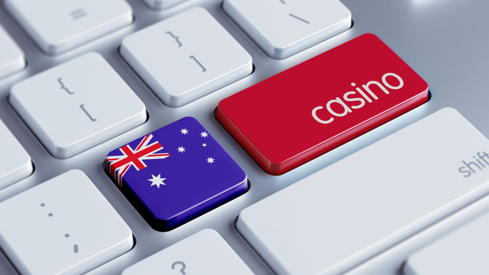 Laptop keys with Australian flag and the word casino superimposed