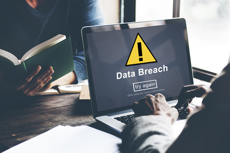 data message warning on laptop screen