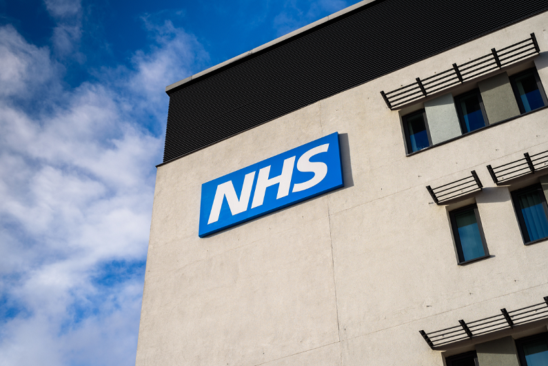 NHS logo on a building