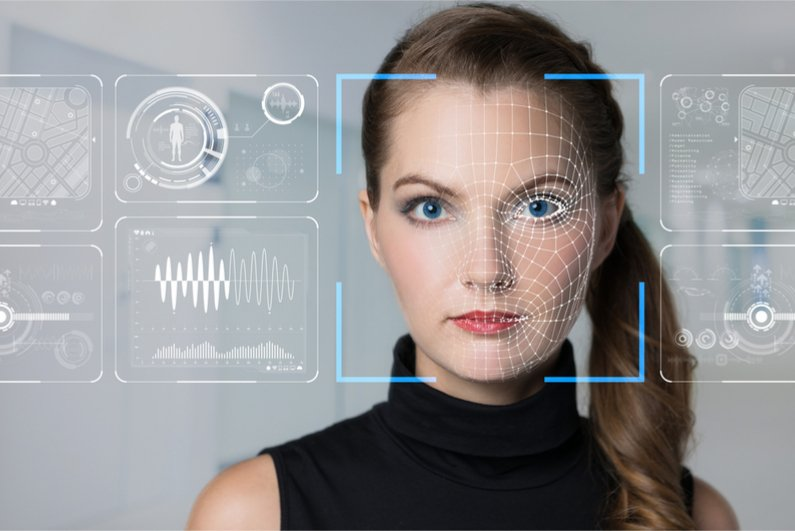 facial recognition diagrams superimposed on woman's face