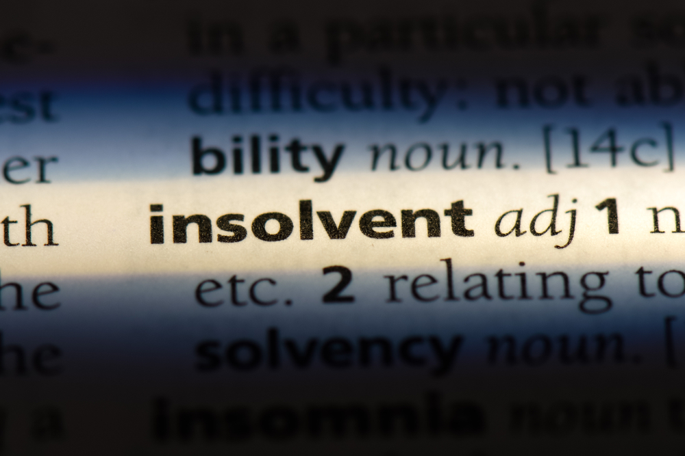 insolvent dictionary entry