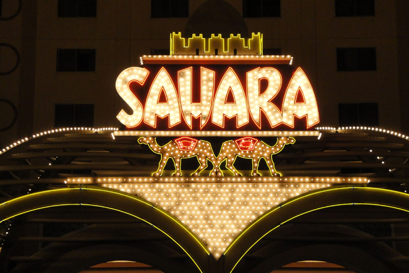 Sahara logo shining bright over rear main entrance