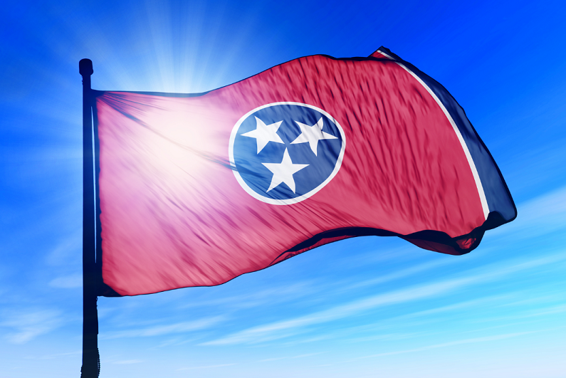 Tennessee flag waving in the wind