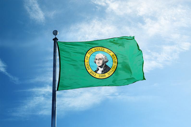 state of Washington flag on the mast