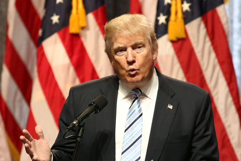 Donald Trump speaks during a press conference