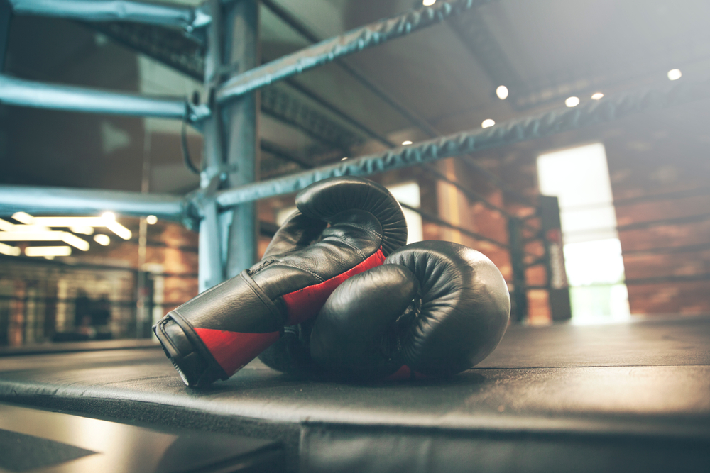 boxing gloves in fight ring