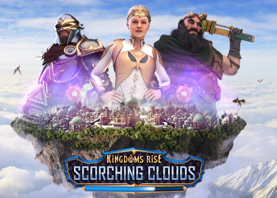 kingdom rises: scorching clouds slot logo and welcome screen