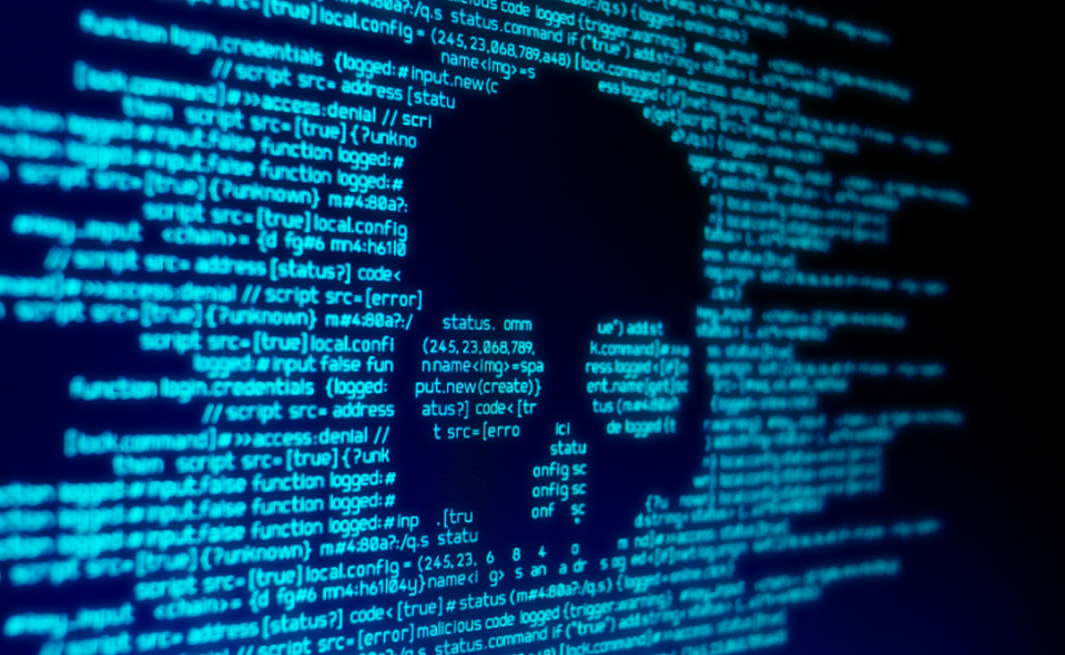 code behind skull silhouette on computer screen