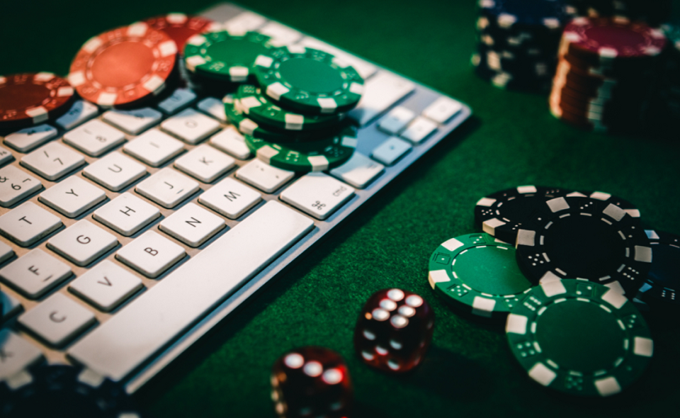 poker chips and keyboard