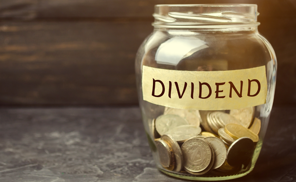 glass jar with dividend label