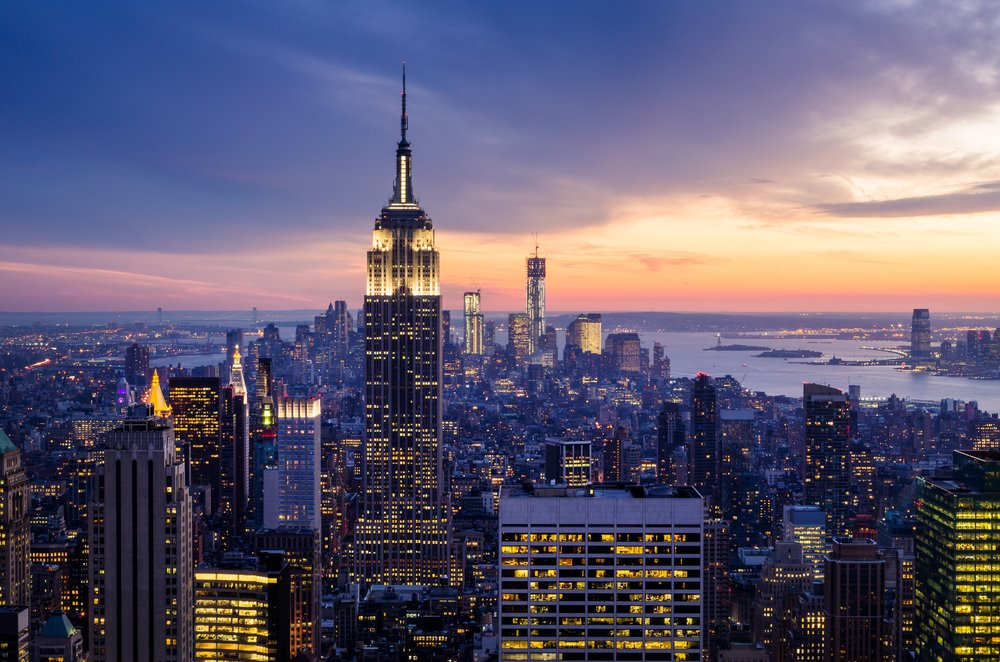 New York cityscape at sunset
