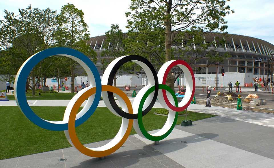 Olympic rings outside of stadium in Tokyo