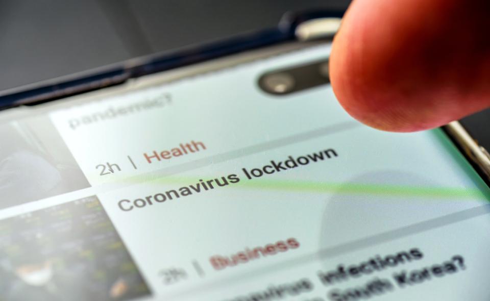 """coronavirus lockdown"" headline on website"