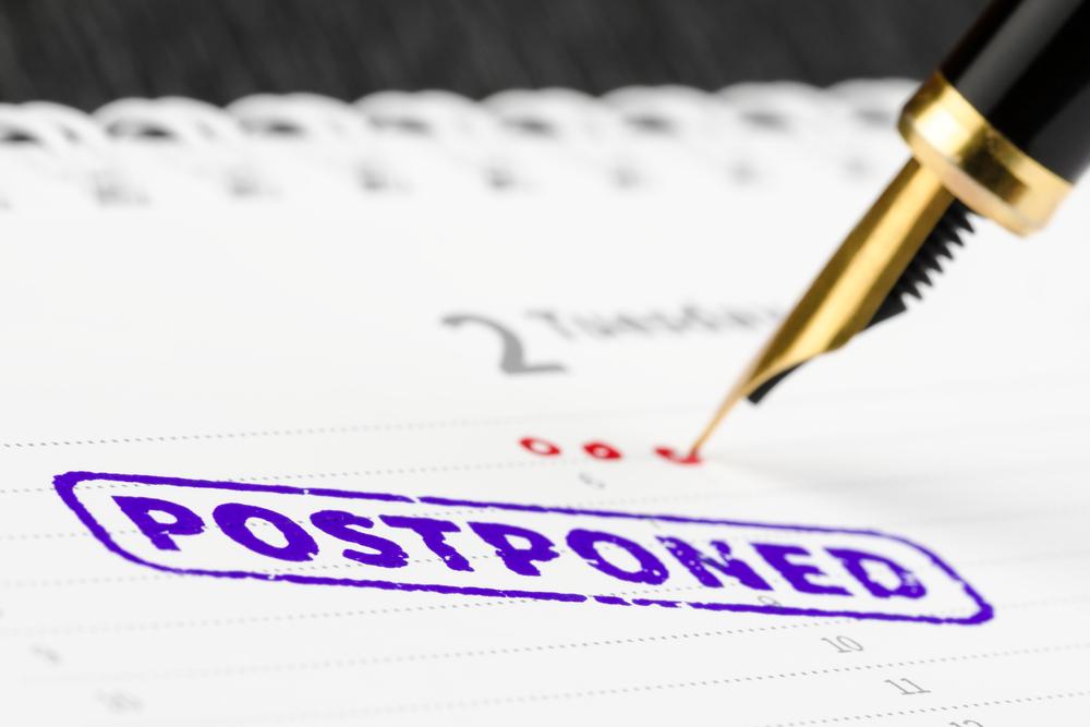 postponed stamp on schedule