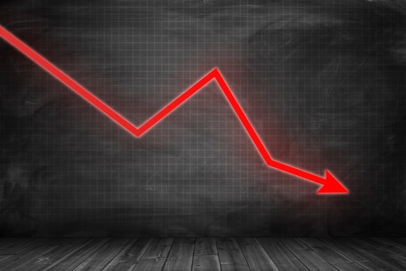 graph showing downward trend in red