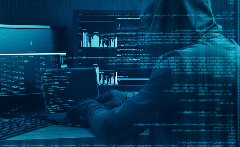 hacker working on a code