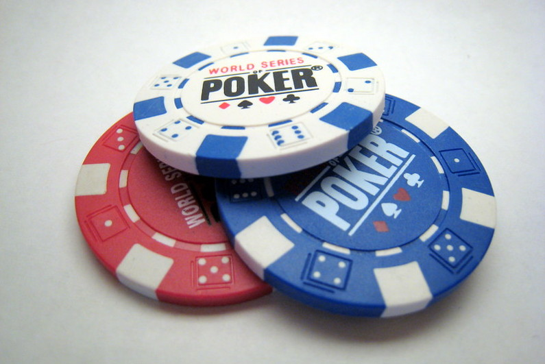 Red, white, and blue WSOP poker chips