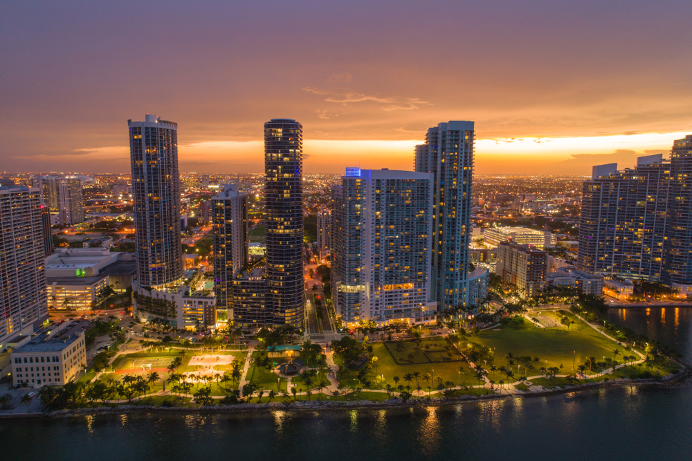 Twilight view of Edgewater, Miami skyline