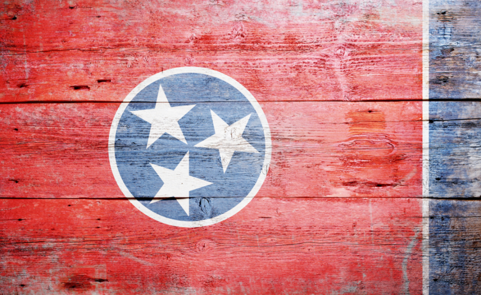 flag of Tennessee painted on grungy wooden background