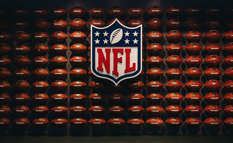 rows of american football balls in NFL Experience in Times Square
