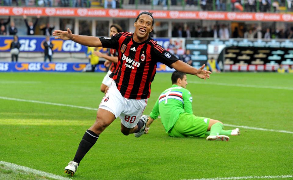 Ronaldinho celebrates after scoring a goal for AC Milan