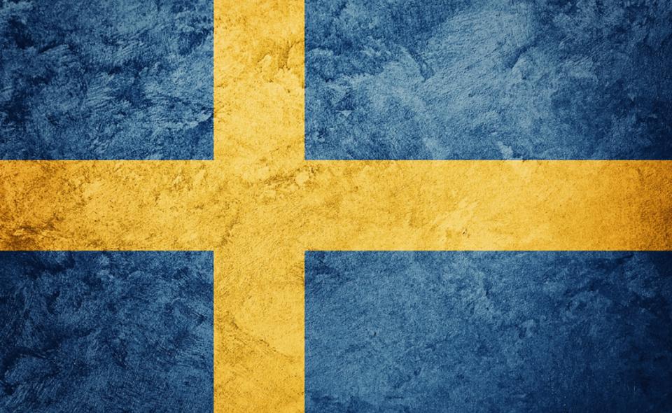 Sweden flag with grunge texture