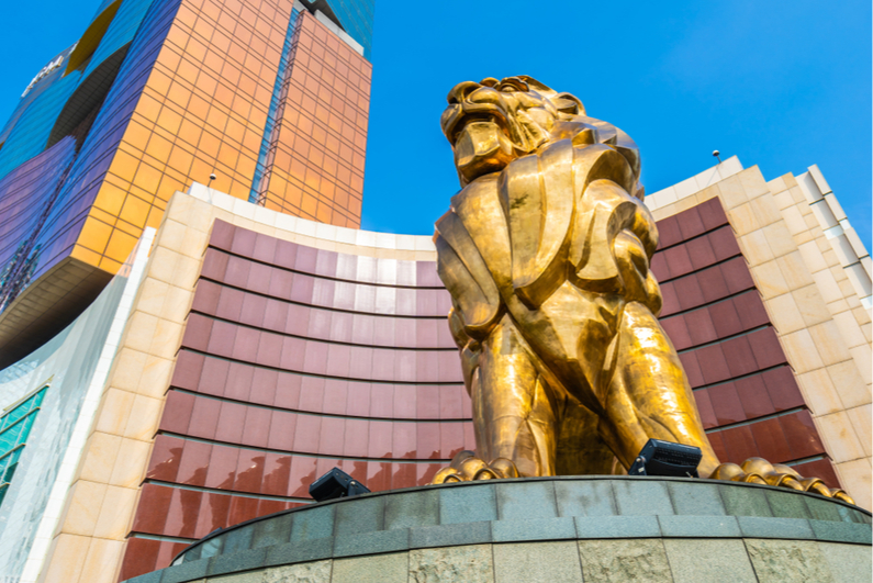 Lion statue in front of MGM Macau