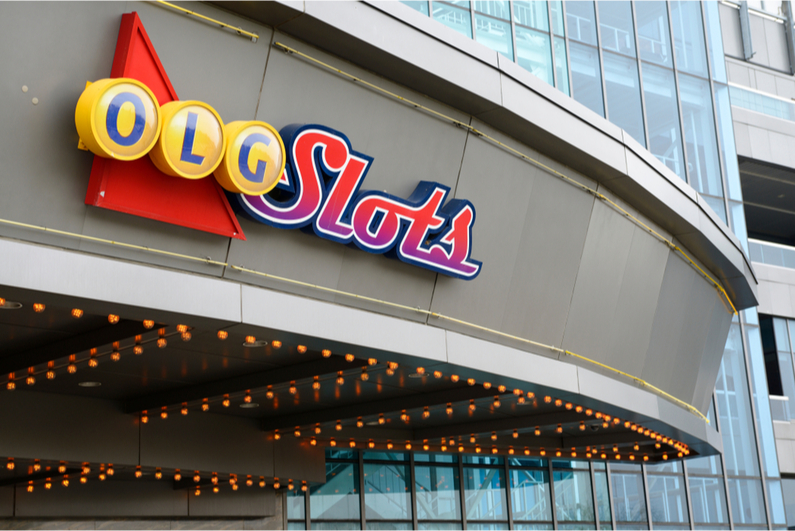 OLG slots sign at Woodbine Racetrack in Toronto, Ontario