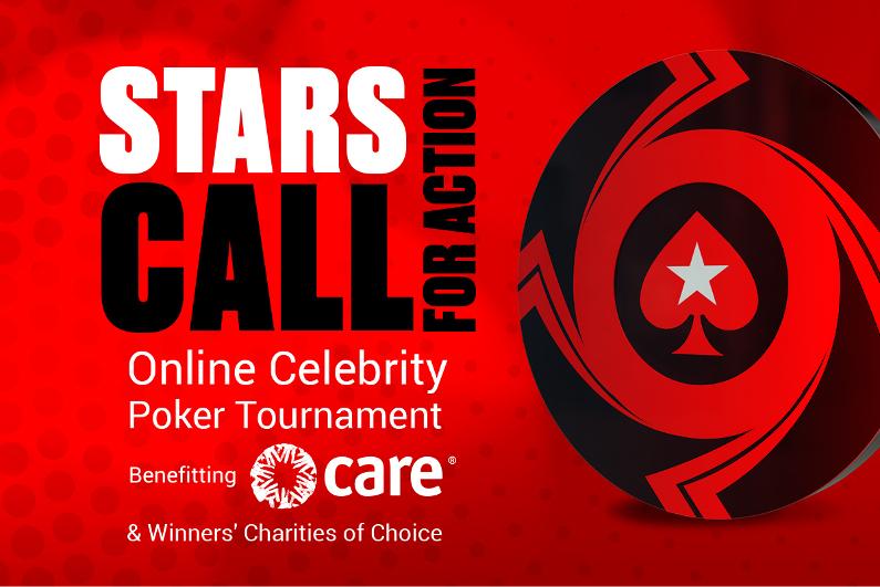 Bintang-bintang PANGGIL untuk logo turnamen poker aksi amal