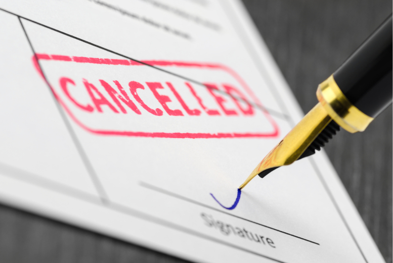 """Contract with red """"CANCELLED"""" stamp"""