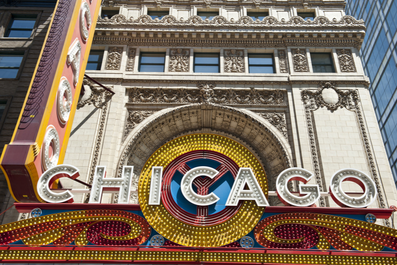 "Close-up view of ""CHICAGO"" sign on Chicago Theatre"