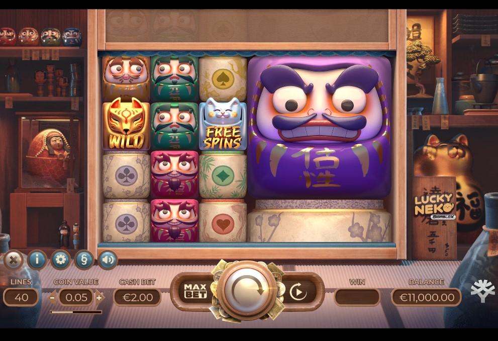 Lucky Neko Gigabox slot reels by Yggdrasil Gaming