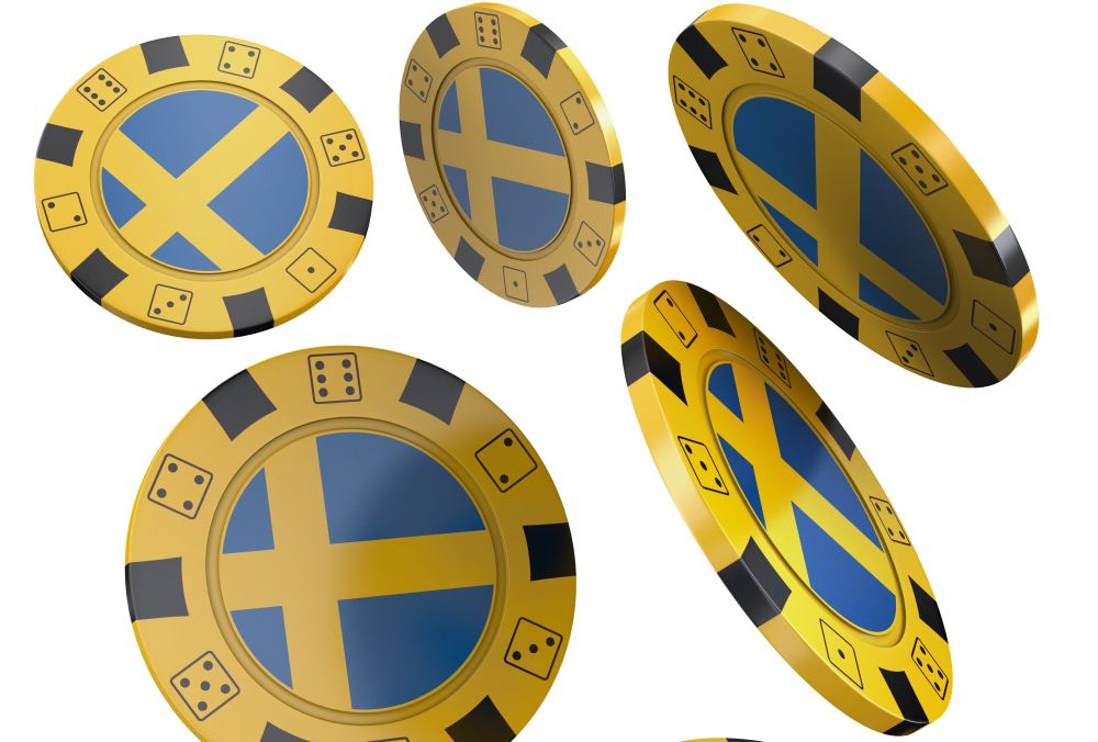 poker chips with flag of Sweden