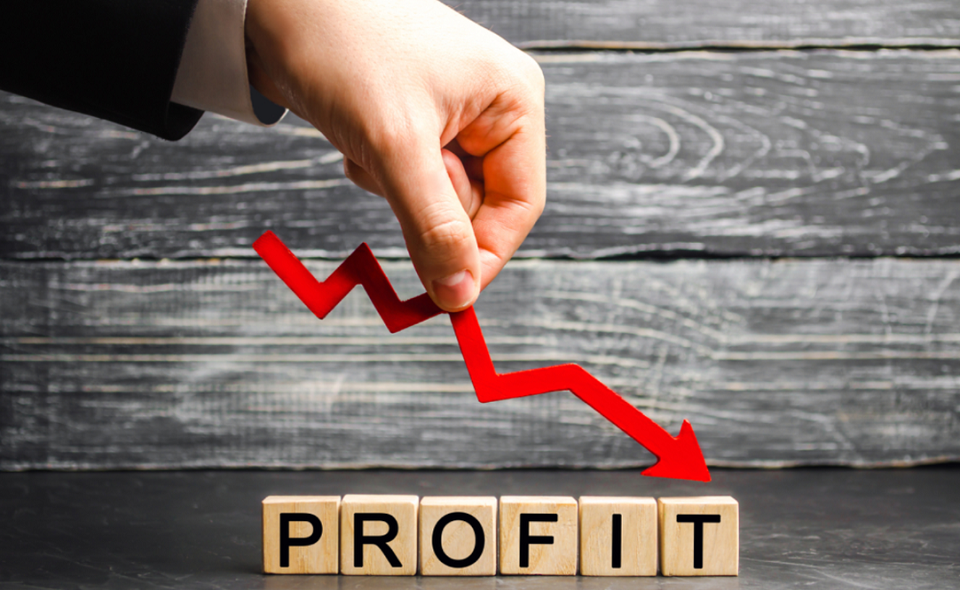 """a businessman holds a red arrow to down and the inscription """"profit"""""""