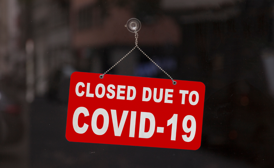"""Sign saying """"Closed due to Covid-19"""""""