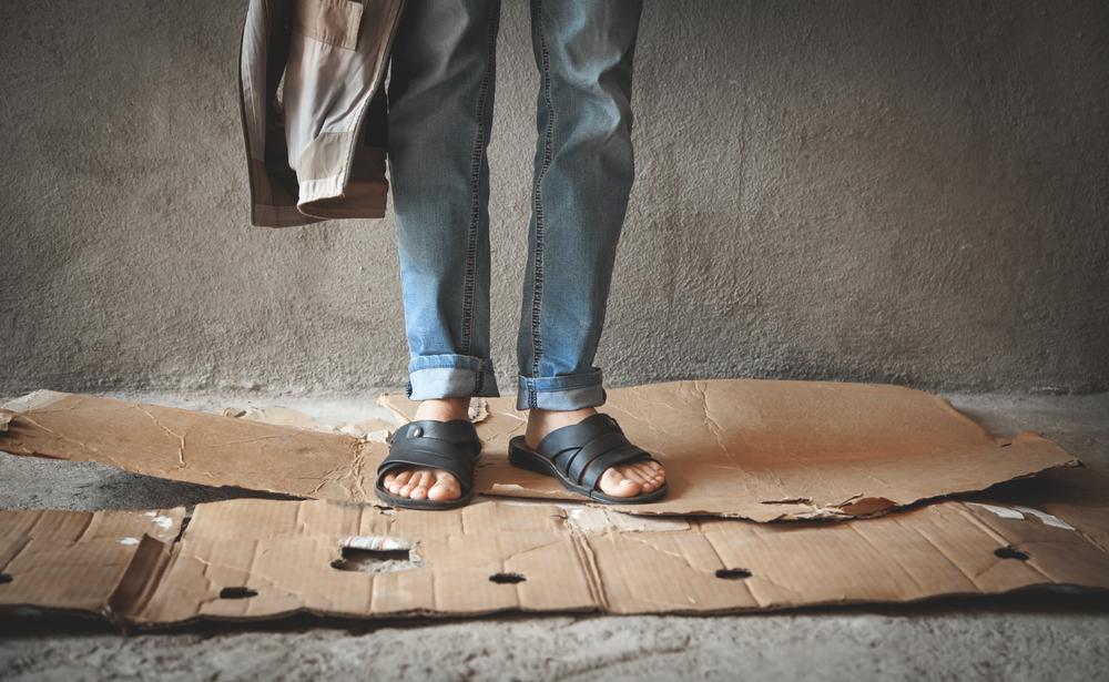 legs of homeless man