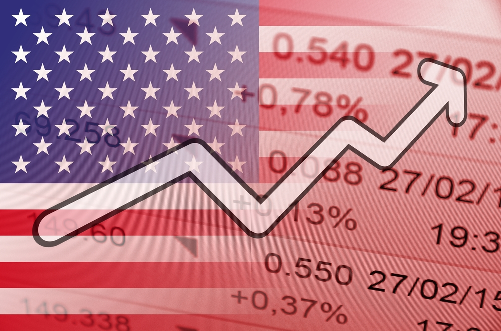 market growth trend with US flag in background